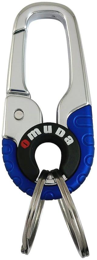 Relicon Omuda Hook Locking Two Rings (R-25) Blue Silver Metal Keychain for Car Bike Men Women Keyring
