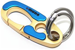 Relicon Omuda Hook Locking Two Rings (R-42) Blue Gold Metal Keychain for Car Bike Men Women Keyring