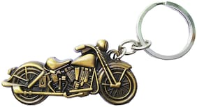 Relicon Gold Bike Metal Keyring for Car Men Women (R-2) Compatible for Royal Enfield Motorcycles Bullet Bike RE Keychain