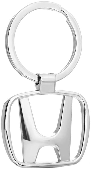 Relicon Silver Metal Keyring for Car Bike Men Women (R-16) Compatible with Keychain