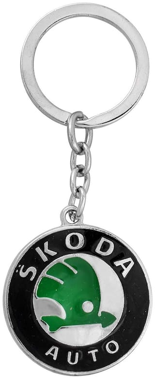Relicon Green Black Metal Keyring for Car Bike Men Women (R-16) Compatible with Skoda Keychain