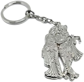 Relicon Two Sided Radha Krishna RK (R-45/1) Silver Metal Keychain for Car Bike Men Women Keyring