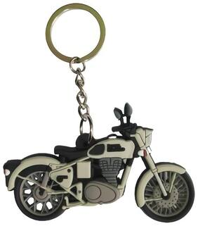 Relicon Two Sided Grey Rubber Keyring for Car Bike Men Women (R-41/1) Compatible with Royal Enfield RE Bullet Bike Keychain