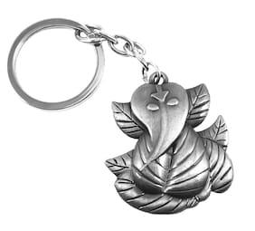 Relicon Two Sided Ganesh Ji | Ganesha | Ganpati Ji (R-5) Grey Metal Keychain for Car Bike Men Women Keyring