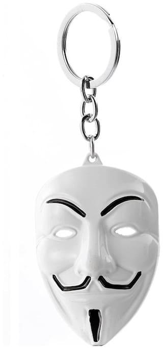 Relicon V for Vendetta Anonymous Hacker Face Mask (R-1) White Metal Keychain for Car Bike Men Women Keyring