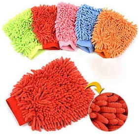 Relisales 2 Microfiber Dusting Cleaning Glove For Home Office Kitchen Hotel (Assorted Colors)