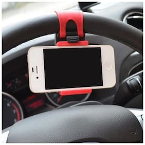 Retina Car Steering Mobile Holder(Black)
