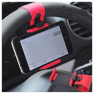 Retractable Silicon Car Steering Wheel Universal Mobile Phone Socket Stand Holder Clip (Colour may vary)
