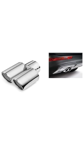 Buy Ridar Chrome Dual Outlet Single Pipe Car Exhaust Silencer Tip