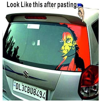 Rider Multi Colour Car Back, Scooty Front, Angry Hanuman, Lord Hanuman, bajrang Bali Sticker for Two Wheeler and 4 Wheeler (15*20 inch)