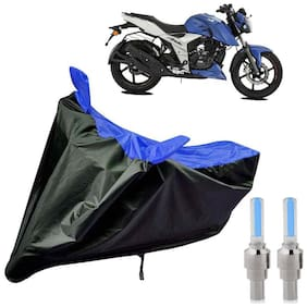 Riderscart 100 Percent Water Proof Bike Cover For TVS Apache 160 With Blue Tyre Light Black;Blue