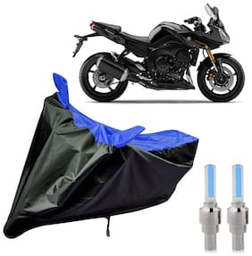 Riderscart 100 Percent Water Proof Bike Cover For Yamaha Fazer With Blue Tyre Light Black;Blue