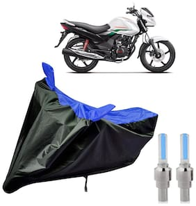 Riderscart 100 Percent Water Proof Bike Cover For Hero Achiever With Blue Tyre Light Black;Blue