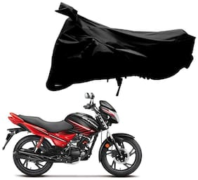 Riderscart 100 % Water Proof Black 190 T Tafta Imported Fabric Two Wheeler Bike Cover With Anti Uv Protection With Anti Theft Lock Holes & Buckles For Hero Glamour With Warranty