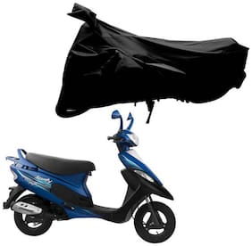 Riderscart 100 % Water Proof Black 190 T Tafta Imported Fabric Two Wheeler Bike Cover With Anti Uv Protection With Anti Theft Lock Holes & Buckles For Tvs Scooty Pep Plus With Warranty