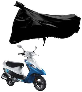 Riderscart 100 % Water Proof Black 190 T Tafta Imported Fabric Two Wheeler Bike Cover With Anti Uv Protection With Anti Theft Lock Holes & Buckles For Tvs Scooty Pep With Warranty
