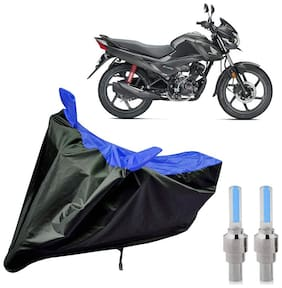 Riderscart 100 Percent Water Proof Bike Cover For Honda Livo With Blue Tyre Light Black;Blue