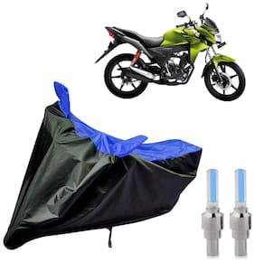 Riderscart 100 Percent Water Proof Bike Cover For Honda CB Twister With Blue Tyre Light Black;Blue