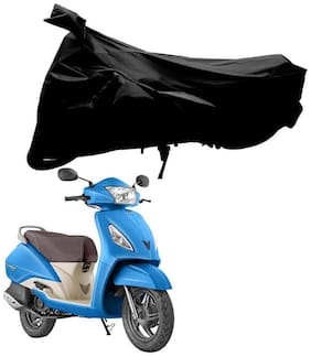 Riderscart 100 % Water Proof Black 190 T Tafta Imported Fabric Two Wheeler Bike Cover With Anti Uv Protection With Anti Theft Lock Holes & Buckles For Tvs Jupiter With Warranty
