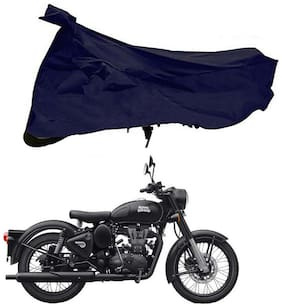 Riderscart 100 % Water Proof Blue 190 T Tafta Imported Fabric Two Wheeler Bike Cover With Anti Uv Protection With Anti Theft Lock Holes & Buckles For Royal Enfield Classic Stealth Black With Warranty