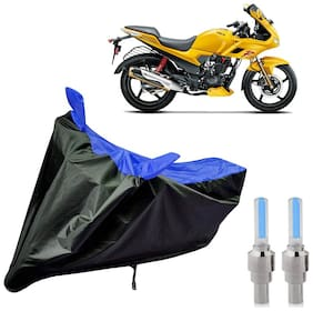Riderscart 100 Percent Water Proof Bike Cover For Hero Karizma With Blue Tyre Light Black;Blue