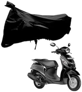 Riderscart 100 % Water Proof Black 190 T Tafta Imported Fabric Two Wheeler Bike Cover With Anti Uv Protection With Anti Theft Lock Holes & Buckles For Yamaha Fascino With Warranty