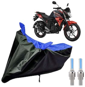 Riderscart 100 Percent Water Proof Bike Cover For Yamaha FZS 2.0 With Blue Tyre Light Black;Blue