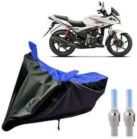 Riderscart 100 Percent Water Proof Bike Cover For Hero Ignitor With Blue Tyre Light Black;Blue