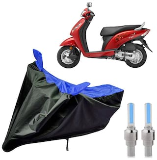 Riderscart 100 Percent Water Proof Bike Cover For Honda Activa i With Blue Tyre Light Black;Blue