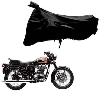 Riderscart 100 % Water Proof Black 190 T Tafta Imported Fabric Two Wheeler Bike Cover With Anti Uv Protection With Anti Theft Lock Holes & Buckles For Royal Enfield Bullet 500 With Warranty