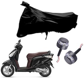 Riderscart 2 Wheeler Bike Cover with Blue Yellow Handle Bar Light Combo for Honda Aviator (Black)