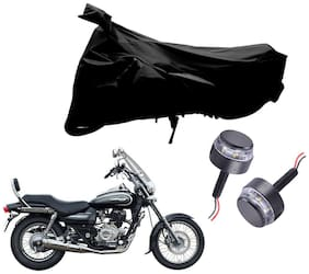 Riderscart 2 Wheeler Bike Cover with Blue Yellow Handle Bar Light Combo for Bajaj Avenger 220 Cruise (Black)