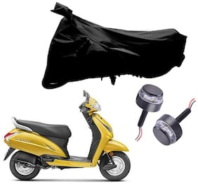 Riderscart 2 Wheeler Bike Cover with Blue Yellow Handle Bar Light Combo for Honda Activa (Black)