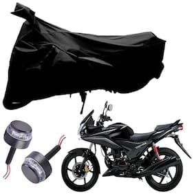 Riderscart 2 Wheeler Bike Cover with Blue Yellow Handle Bar Light Combo for Honda Stunner (Black)