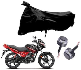 Riderscart 2 Wheeler Bike Cover with Blue Yellow Handle Bar Light Combo for Hero Glamour (Black)