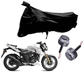 Riderscart 2 Wheeler Bike Cover with Blue Yellow Handle Bar Light Combo for Tvs Apache 200 (Black)