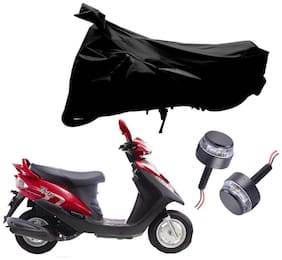 Riderscart 2 Wheeler Bike Cover with Blue Yellow Handle Bar Light Combo for Yamaha Flyte (Black)
