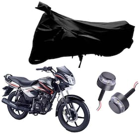 Riderscart 2 Wheeler Bike Cover with Blue Yellow Handle Bar Light Combo for Tvs Phoenix (Black)