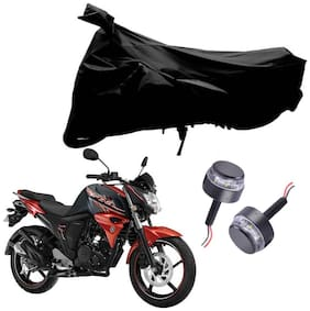 Riderscart 2 Wheeler Bike Cover with Blue Yellow Handle Bar Light Combo for Yamaha FZS 2.0 (Black)