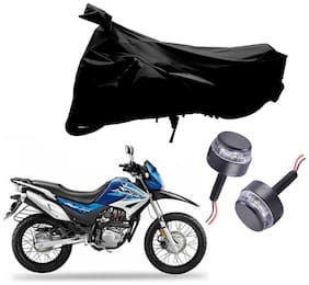 Riderscart 2 Wheeler Bike Cover with Blue Yellow Handle Bar Light Combo for Hero Impulse (Black)