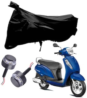 Riderscart 2 Wheeler Bike Cover with Blue Yellow Handle Bar Light Combo for Suzuki Access (Black)
