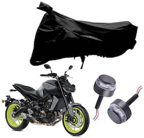 Riderscart 2 Wheeler Bike Cover with Blue Yellow Handle Bar Light Combo for Yamaha MT 09 (Black)