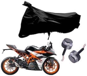Riderscart 2 Wheeler Bike Cover with Blue Yellow Handle Bar Light Combo for Ktm KTM RC 390 (Black)