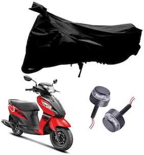 Riderscart 2 Wheeler Bike Cover with Blue Yellow Handle Bar Light Combo for Suzuki Lets (Black)