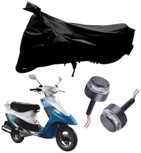 Riderscart 2 Wheeler Bike Cover with Blue Yellow Handle Bar Light Combo for Tvs Scooty Pep (Black)