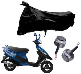 Riderscart 2 Wheeler Bike Cover with Blue Yellow Handle Bar Light Combo for Tvs Scooty Pep Plus (Black)