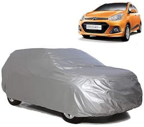 Riderscart All Weather Waterproof Sun Hail UV Snow Dust Protection Car Body Cover with Storage Bag for Hyundai i10 Grand (Silver Matte)