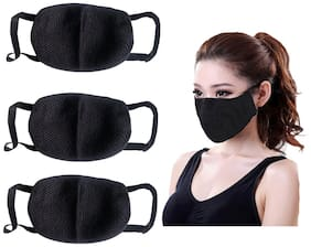 Riderscart Anti Pollution Mask Washable Dust Mask Air Filter Mask For Pollution Smoke Allergy Mask With Filter PM2.5 (Unisex Size ,Color: Black ) (3 Pieces)