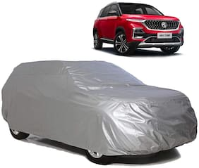 Riderscart All Weather Waterproof Sun Hail UV Snow Dust Protection Car Body Cover with Storage Bag for Mg Hector (Silver Matte)
