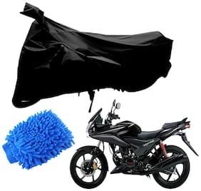 Riderscart Black T 190 Two Wheeler Bike Cover With Microfiber Dusting Glove Combo For Honda Stunner